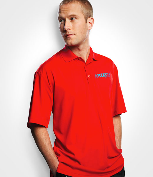 6e449db4a Mens golf polo shirt, custom embroidery, workwear golfing event clothing,  artech promotional apparel