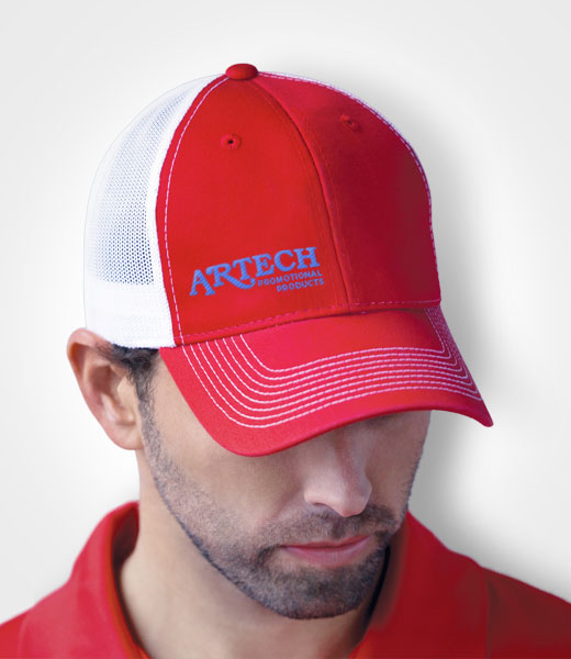 fc1f3c85b63 Deluxe Chino Twill   Nylon Mesh Trucker Hat