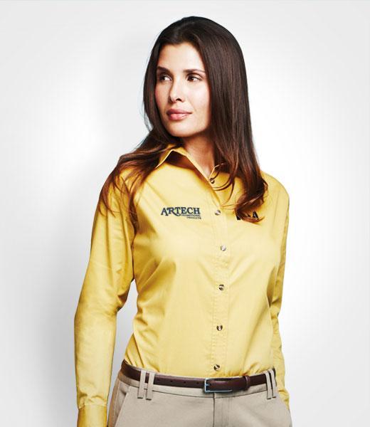... Long Sleeve Dress Shirt. Women's business shirt, corporate wear,  corporate apparel, logo embroidery, artech promotional wear