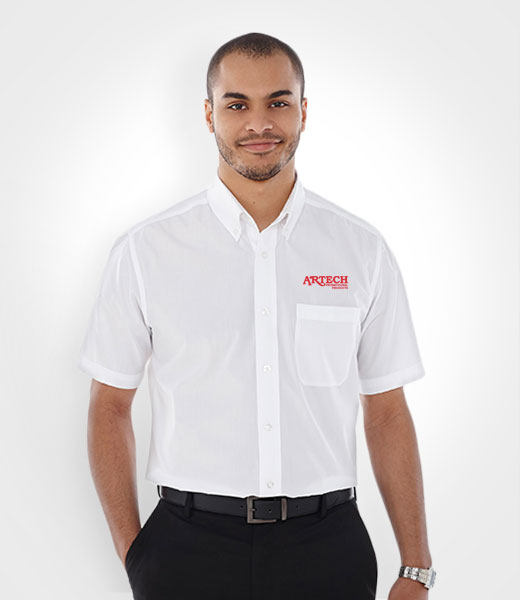 Men S Short Sleeve Dress Shirt Branded Corporate Promotional Wear